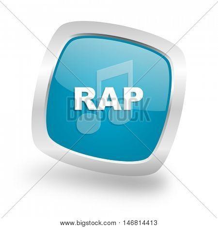 rap music square glossy chrome silver metallic web icon