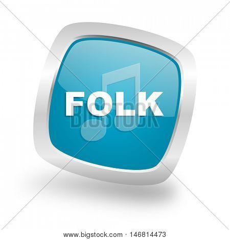 folk music square glossy chrome silver metallic web icon
