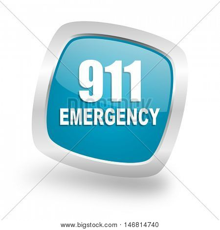 number emergency 911 square glossy chrome silver metallic web icon