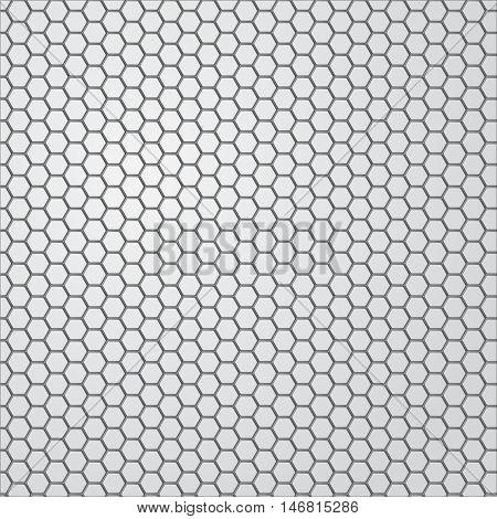 Metal background. Hexagon holes. Steel plate. Vector illustration