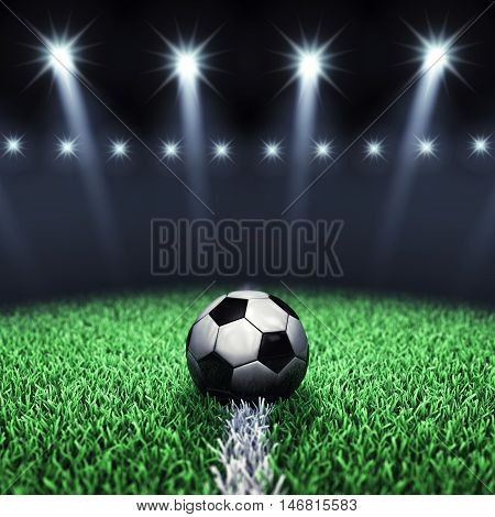 Soccer arena and ball with floodlights , Football stadium , 3d illustration