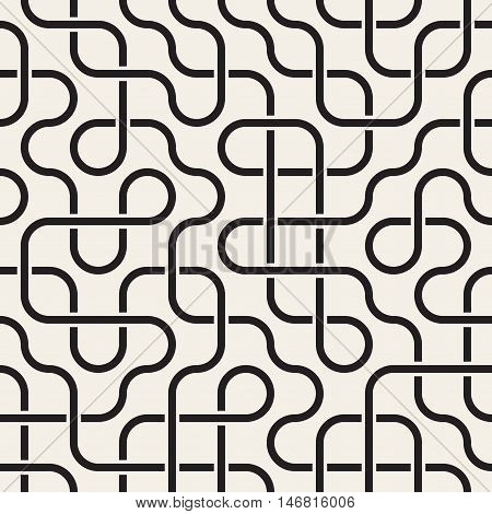 Vector Seamless Black and White Rounded Lines Lattice Irregular Maze Pattern. Abstract Geometric Background Design