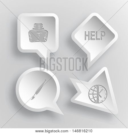 4 images: inkstand, help, brush, globe and clock. Education set. Paper stickers. Vector illustration icons.