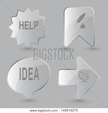4 images: help, feather and ink bottle, idea, globe. Education set. Glass buttons on gray background. Vector icons.