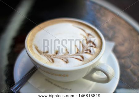 Cup of hot coffe with milk. Cappuccino