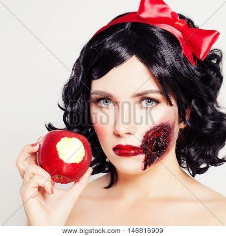 Halloween Artistic Makeup. Woman White Snow Сharacters