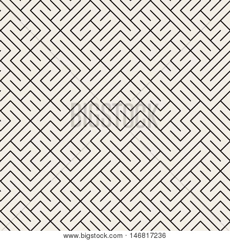 Vector Seamless Black and White Thin Lines Irregular Maze Pattern. Abstract Geometric Background Design