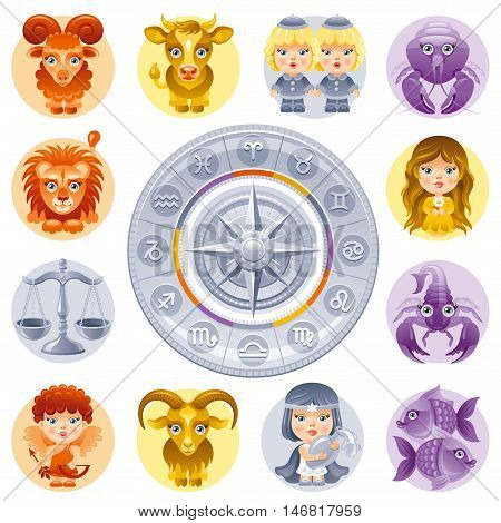Zodiac signs icon set. Cute cartoon characters. Abstract template Aries, Leo, Sagittarius, Taurus, Virgo, Capricorn, Gemini, Libra, Aquarius, Cancer, Scorpio, Pisces vector icons. Four elements color