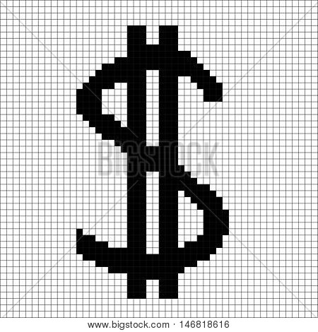 Sign pixel dollar black in grid. Monochrome icon isolated on white lattice background. Pixelated design. Logo for business. American finance symbol made of pixels. Mark of commerce Vector illustration