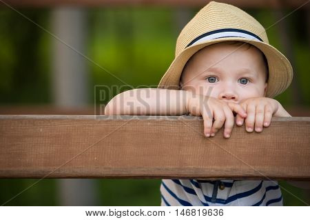 Portrait of adorable toddler boy standing at wooden fence and looking into distance. Cute child in a straw hat watching animals. Boy walking in the park. Lifestyle concept.