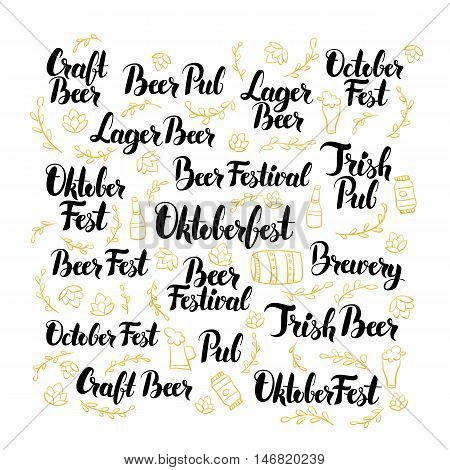October Beer Fest Hand Drawn Lettering. Vector Illustration of Oktoberfest Calligraphy over White.