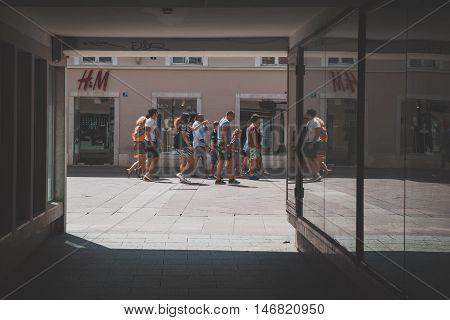 People Taking A Walk In Rijeka, Croatia