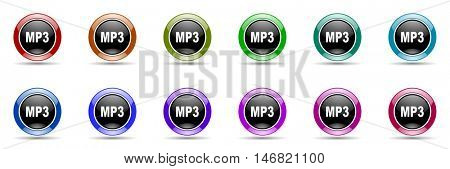mp3 round glossy colorful web icon set