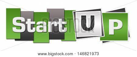 Start up text alphabets written over green grey background.