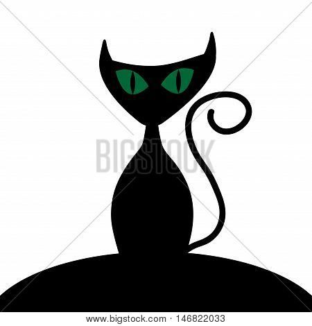 Cat sign. Image of black kitty with green eyes. Cute icon isolated on white background. Symbol of superstition. Logo for party or greeting. Mysterious animal. Mark of Halloween. Stock VECTOR