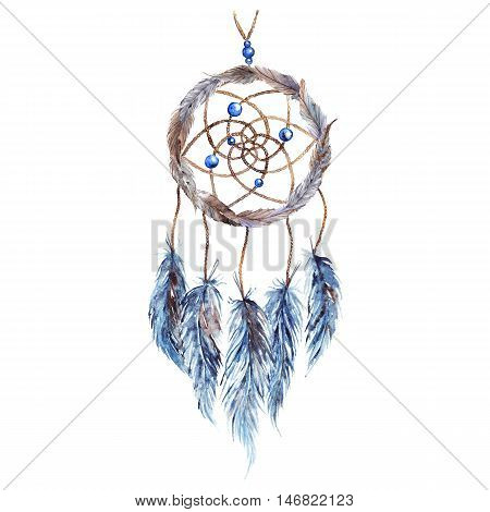 Watercolor ethnic tribal hand made feather dreamcatcher isolated