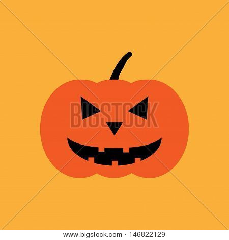 Halloween pumpkin sign. Image of jack-o-lantern. Color icon isolated on orange background. Symbol of autumn holiday. Logo for party. Scary face on vegetable. Mark of All hallows' day. Stock vector