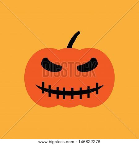 Halloween pumpkin sign. Image of jack-o-lantern. Color icon isolated on orange background. Symbol of autumn holiday. Logo for party. Smirk face on vegetable. Mark of All hallows' day. Stock vector