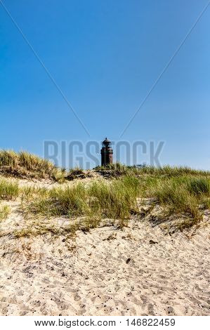 Lighthouse Tower, Beach And Dunes With Beachgrass