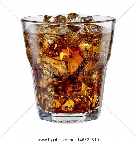 Cola with ice cubes isolated on white. With clipping path