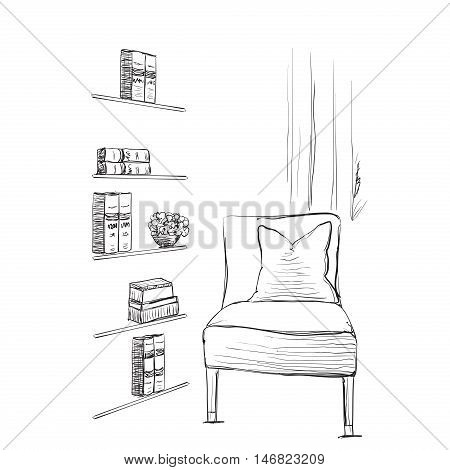 Hand drawn room interior. Reading place sketch. Chair and bookshelves.