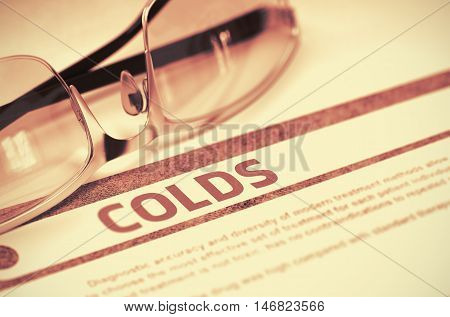 Diagnosis - Colds. Medicine Concept on Red Background with Blurred Text and Pair of Spectacles. Selective Focus. 3D Rendering.