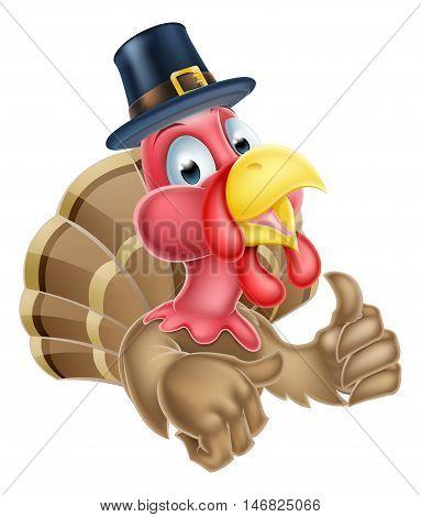 Cartoon Turkey In Puritan Hat