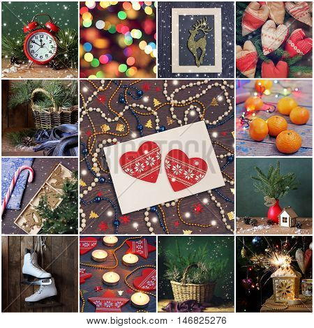 Collage of new year and Christmas pictures. Happy New year and Merry Christmas! New Year's background. Card invitation.