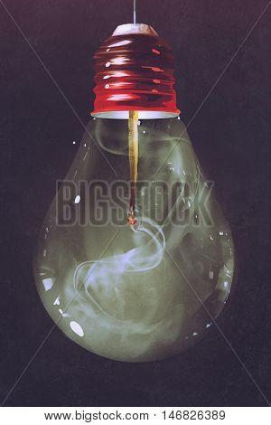 light bulb with burnt matchstick inside on dark background, illustration painting