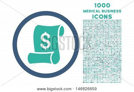 Financial Receipt Roll rounded vector bicolor icon with 1000 medical business icons. Set style is flat pictograms, cobalt and cyan colors, white background.