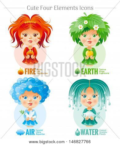 Four elements Zodiac astrological sign icon set. Cute cartoon baby girl character. Abstract template red Fire, green Earth, Air, Water vector icons. Horoscope modern illustration. White background