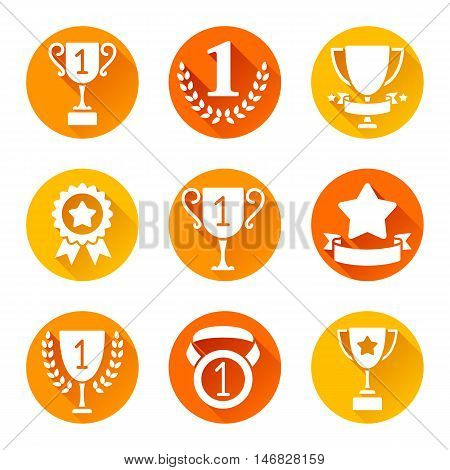 Sport trophy and awards icons. Set of 9 round flat icons with long shadows