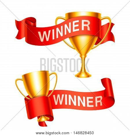 Golden trophy cups and ribbons with Winner text