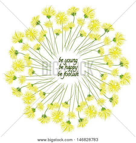 Wreath with dandelion and inscription. Dandelion wreath.