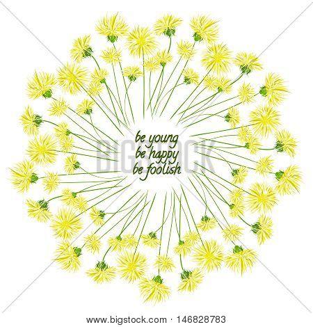 Wreath with dandelion and inscription. Dandelion wreath.
