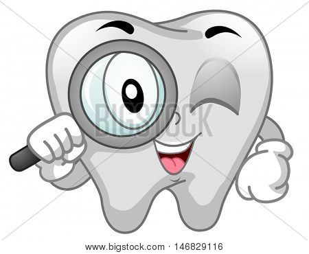 Mascot Illustration of a Clean White Human Tooth Holding a Magnifying Glass