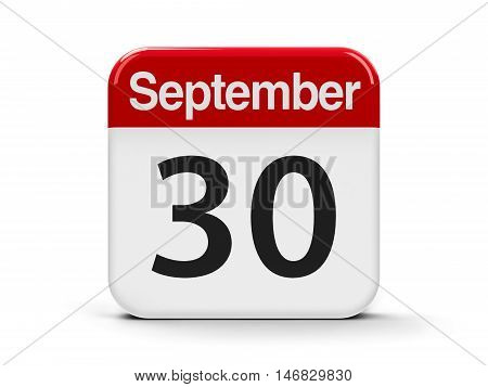 Calendar web button - The Thirtieth of September - International Translation Day three-dimensional rendering 3D illustration