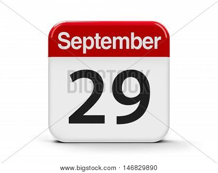 Calendar web button - The Twenty Ninth of September - World Heart Day three-dimensional rendering 3D illustration