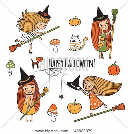 Happy Halloween. Vector illustration of cute girls witch costume. Cartoon set design for Halloween. Children, mushrooms, cat, kitty, pumpkin, spider. Isolated characters on white drawn by hand.
