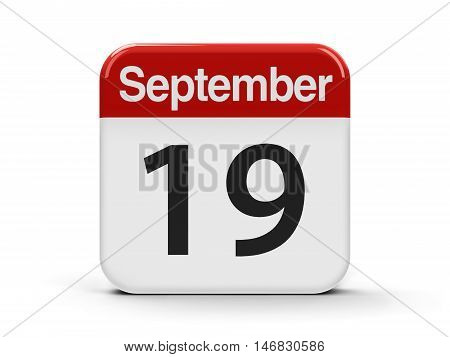 Calendar web button - The Nineteenth of September - International Talk Like A Pirate Day three-dimensional rendering 3D illustration
