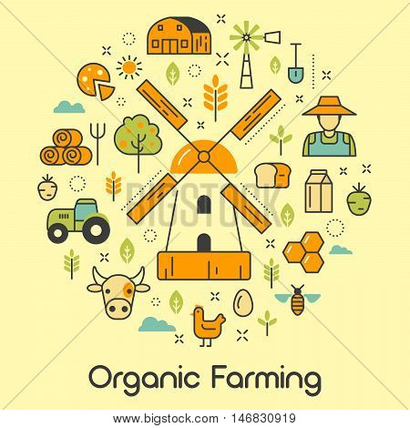 Organic Farming Line Art Thin Vector Icons Set with Windmill and Eco Products