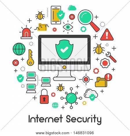 Internet Security Data Protection Line Art Thin Vector Icons Set with Computer and Network Viruses