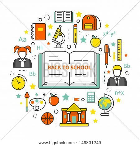 Back to School Line Art Thin Vector Icons Set. Educational Concept with Book and Schoolers