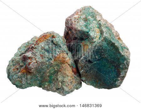 Two green jasper stones hug each other