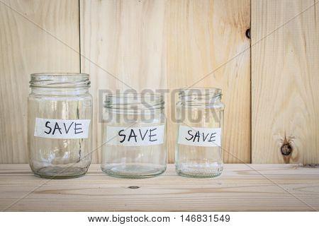 Money Saving concept , Saving money by jars system