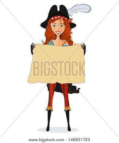 Pirate Girl with map. Pirate woman with scroll isolated on a white background. Vector illustration. Eps10