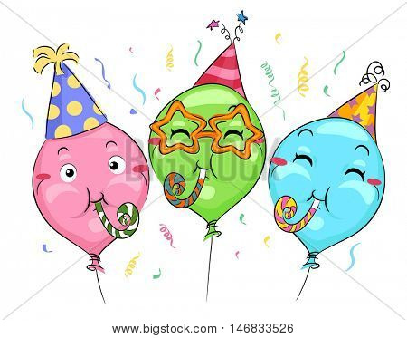 Mascot Illustration of Balloons in Party Hats Playing with Noisemakers