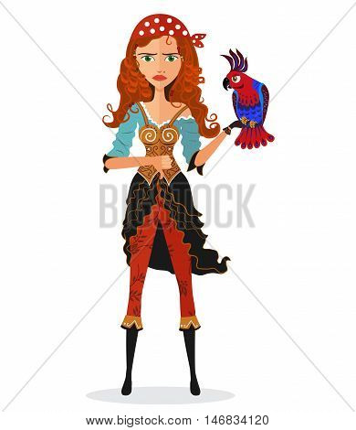 Frowning Pirate cheerful girl with parrot Flat Strict Pirate. Disappointed character isolated on a white background. Vector.