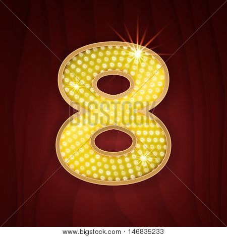 Gold light lamp bulb font number Eight 8. Sparkling glitter design in style of vegas casino, burlesque cabaret and broadway show decoration. Shining numbers symbols of alphabet set for light board