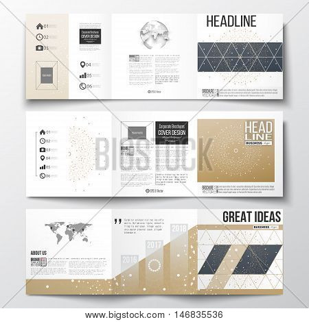Vector set of tri-fold brochures, square design templates with element of world map and globe. Polygonal backdrop, connecting dots and lines, golden background, connection structure. Science vector